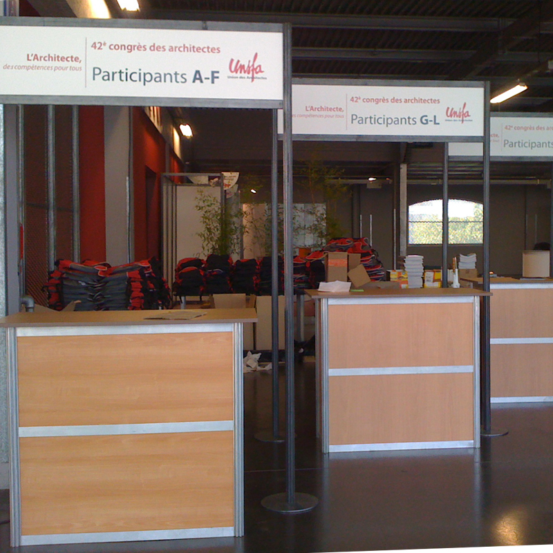 Solutions tech prod catalogue location installation for Stand accueil
